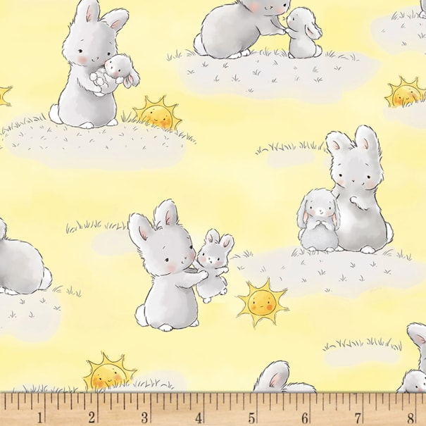 Timeless Treasures Little Star Flannel Bunnies And Little Ones With Sunshine Yellow