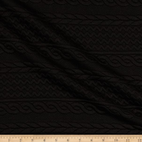 Telio Cable Fable Quilt Stretch Knit Black