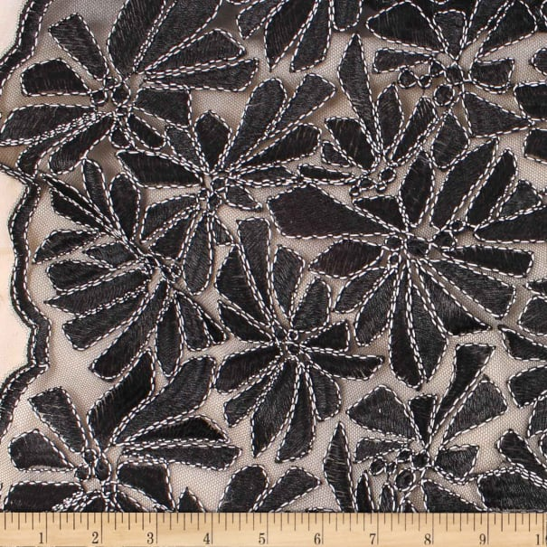 Telio Alexa Embroidery Two Tone Corded Embroidery Stretch Lace Floral Black