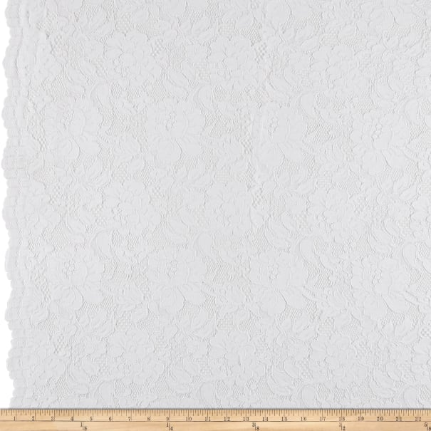 Heavy Corded Chantilly Lace White