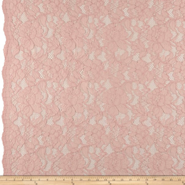 Heavy Corded Chantilly Lace Blush Pink