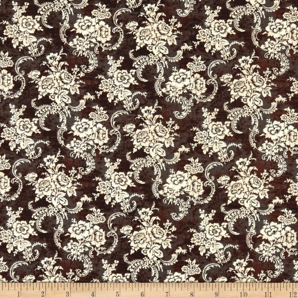 Springs Creative French Rooster Lace Floral Black