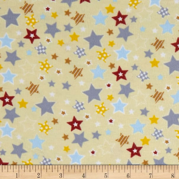 Fox/Sheep/Bear Flannel Star Yellow