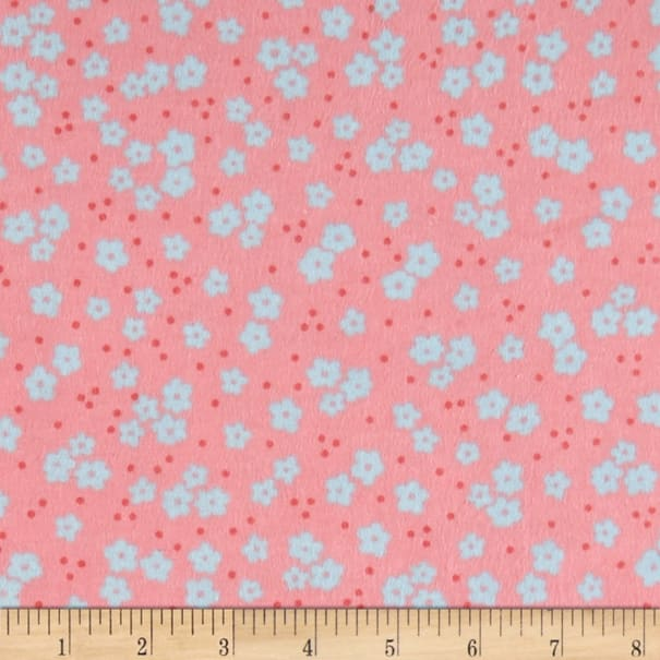 Elephant/Mouse Flannel Small Flowers Coral