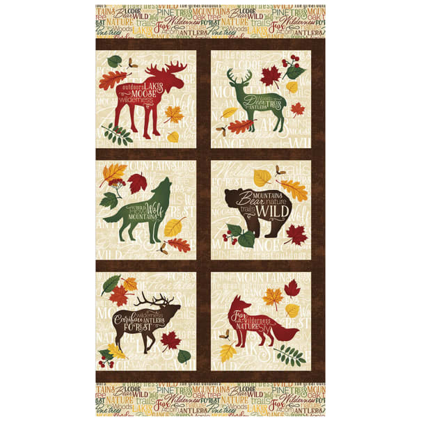 "Autumn Woods Autumn 24"" Panel Block Beige"