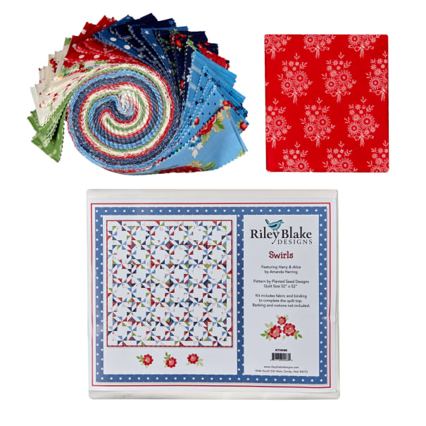 """Penny Rose Harry and Alice Swirls 52"""" x 52"""" Quilt Kit Multi"""