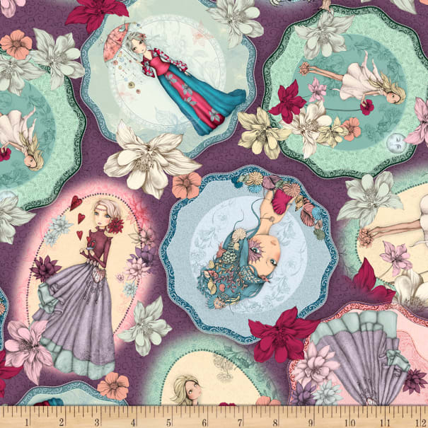 QT Fabrics Mirabelle Midnight Garden Tossed Picture Patches Dark Wisteria
