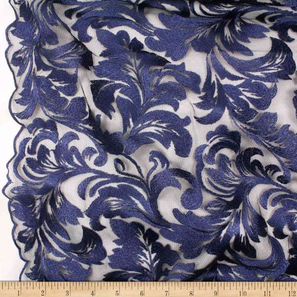 Telio Damask Mesh Embroidery Navy