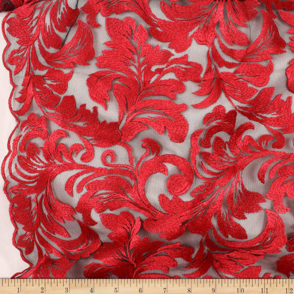 Telio Damask Mesh Embroidery Red
