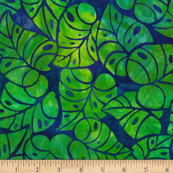 Kaufman Artisan Batiks Totally Tropical Leaves Island Green