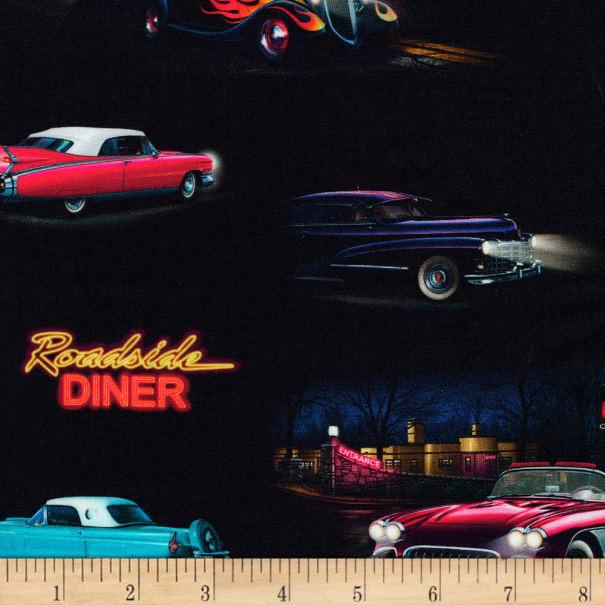 Vintage Cars Fabric OOP Sold by 12 yd Car Fabric Ckassic 1960s Cars