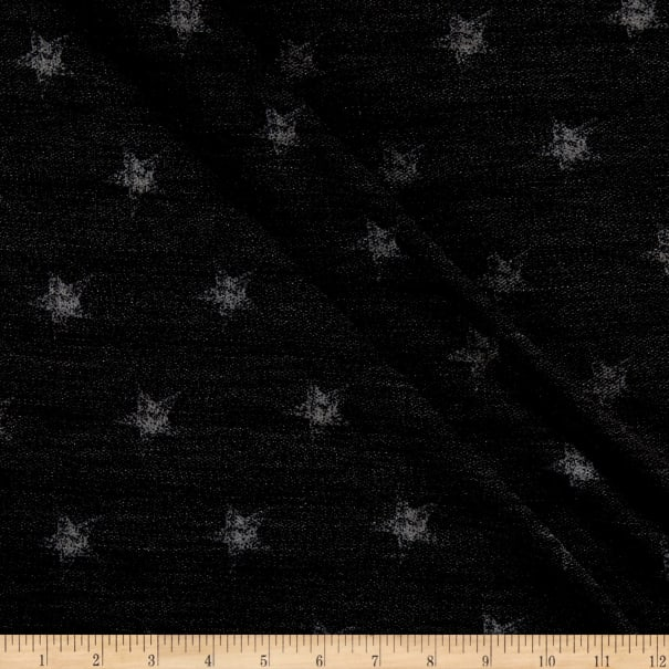 California Stretch French Terry Stars Charcoal