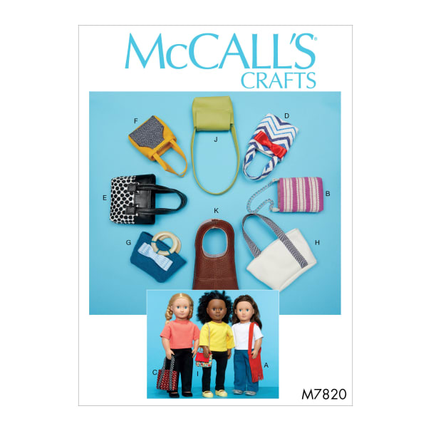 """McCall's M7820 Bags For 18"""" Dolls (One Size)"""