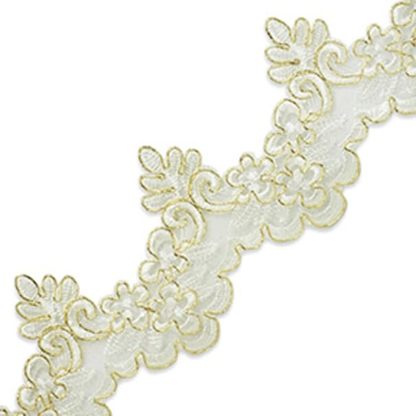 Nicoleta Embroidered Lace Trim White/Gold (Precut, 10 Yards)