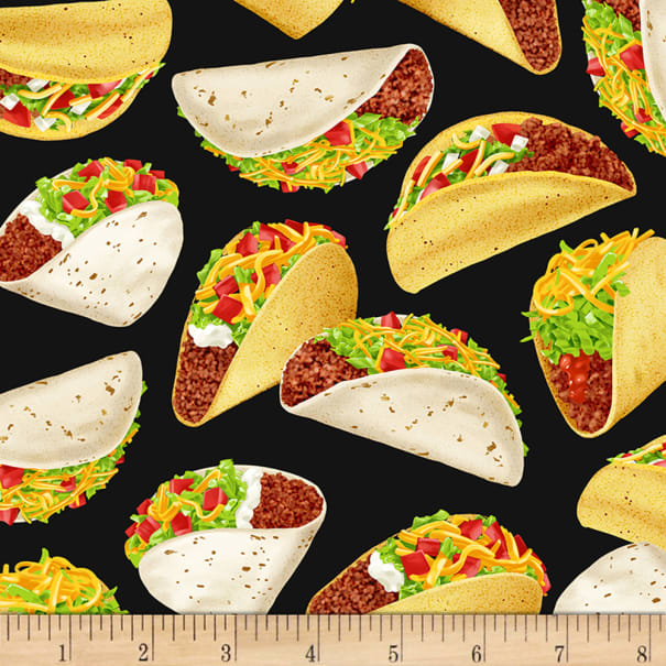 Timeless Treasures Taco Tuesday Tossed Tacos Black