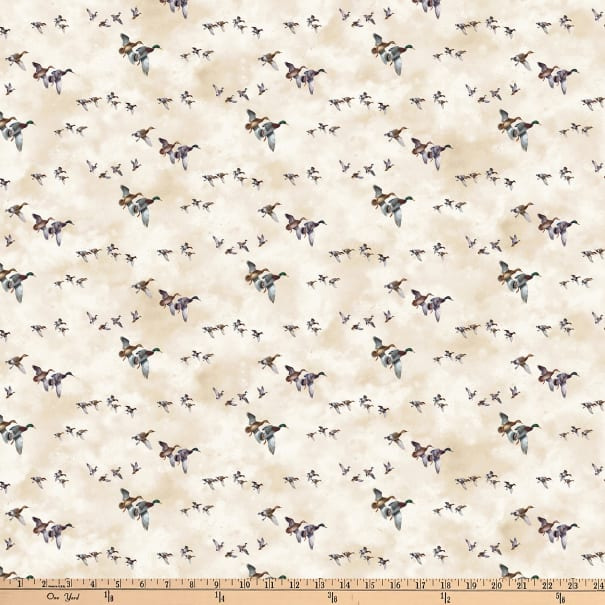 Northcott Faithful Friends Digital Birds Beige