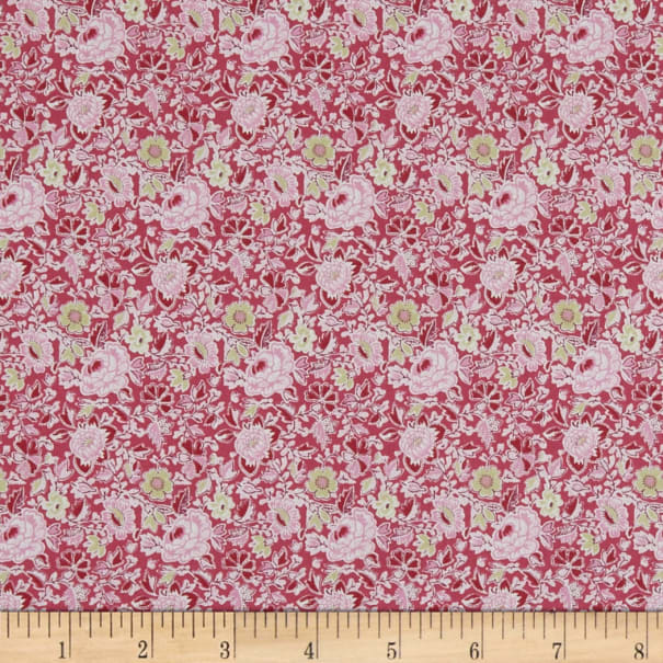 In The Beginning Fabrics Garden Delights Dotted Flowers Pink Navy