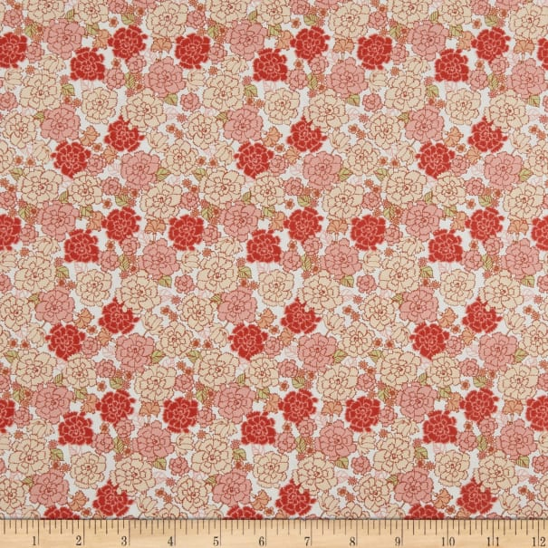 In The Beginning Fabrics Garden Delights Carnation Coral White