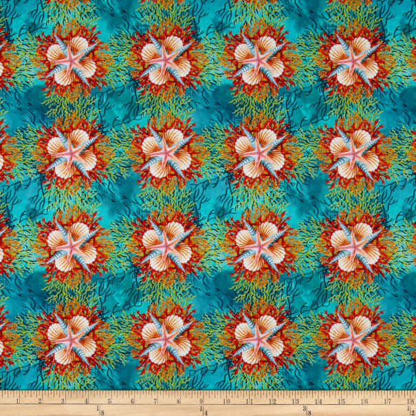 In The Beginning Fabrics Calypso Shells Teal