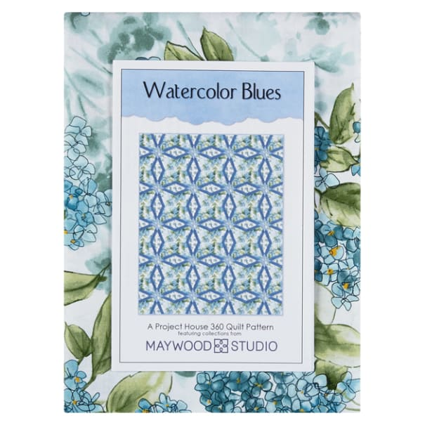Quilt Kit 56 x 75 Fabrics for Top and Binding with Pattern Water Colored Hydrangea