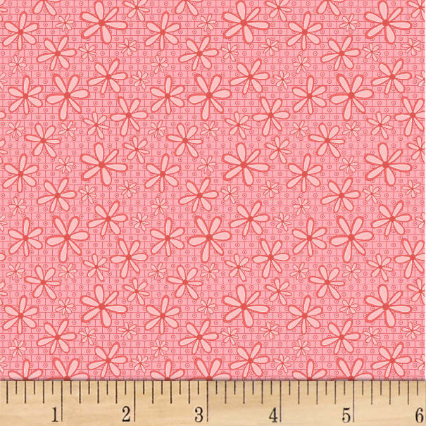 P&B Textiles Basically Hugs Flannel Daisy Pink