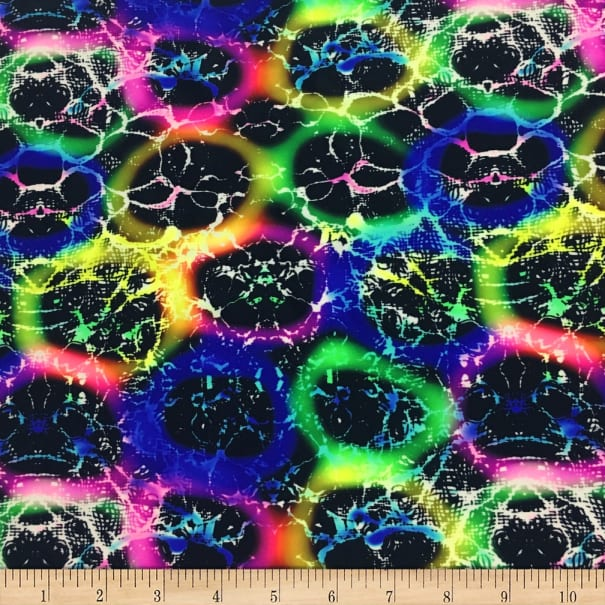 Pine Crest Fabrics Chained Rainbow Stretch Tricot Black/ Green/ Pink