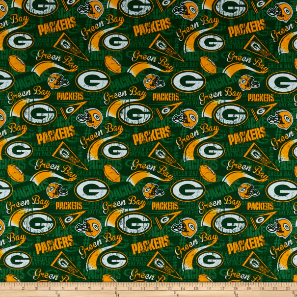 Nfl Cotton Broadcloth Green Bay Packers Retro Green Fabric Com