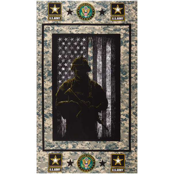"Military Army Cotton 24"" Panel Multi"