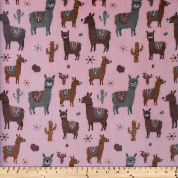 Plush Fleece Llamas Pink