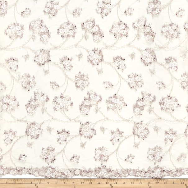 Telio Demelza Embellished Beaded Floral Lace Whisper Pink