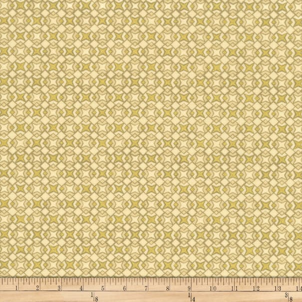 Stoffabric Denmark Christmas Wonders Small Metallic Stars Beige