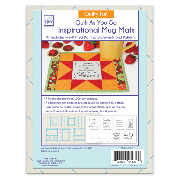 June Tailor Quilt As You Go Inspirational Mug Mats Quilty Fun