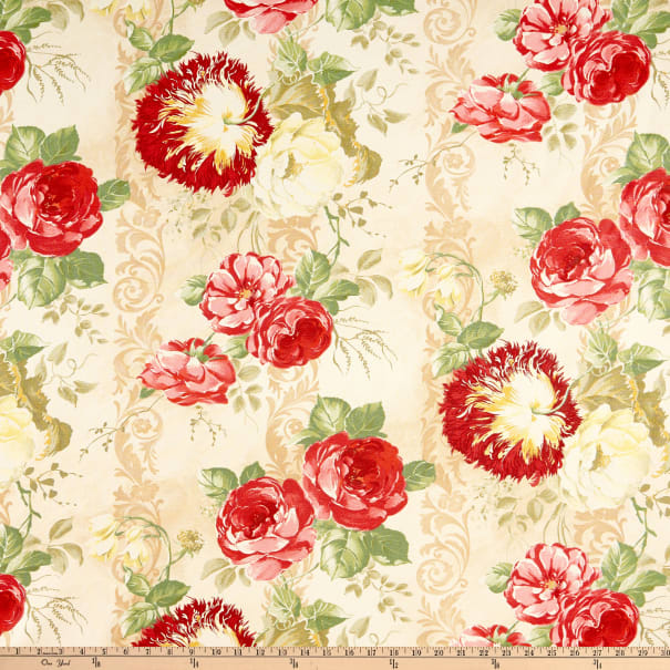 Blessed Beauty Packed Flower Orange Pink Springs YARD Floral Fabric