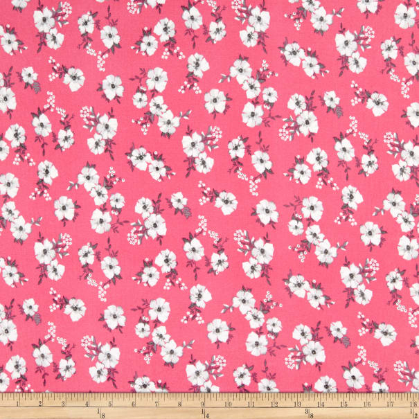 Fabric Merchants Double Brushed Poly Stretch Jersey Knit Mini Floral Pink/Grey