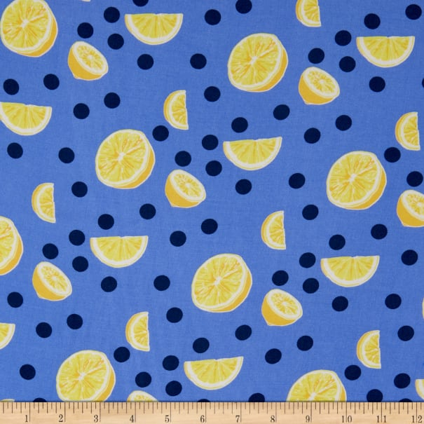 Fabtrends Rayon Soleil Lemon On Dots Navy
