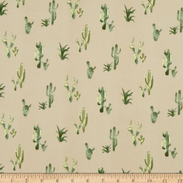 Double Brushed Poly Jersey Knit Cactus Taupe/Green