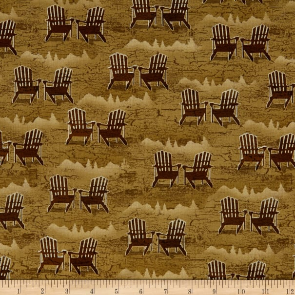 Henry Glass Twilight Lake Adirondack Chairs Brown