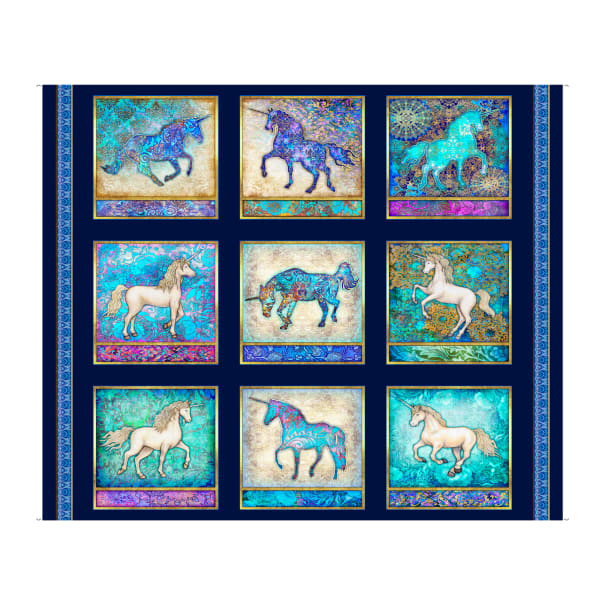 "QT Fabrics  Mystical Unicorn Picture  36"" Panel Navy"