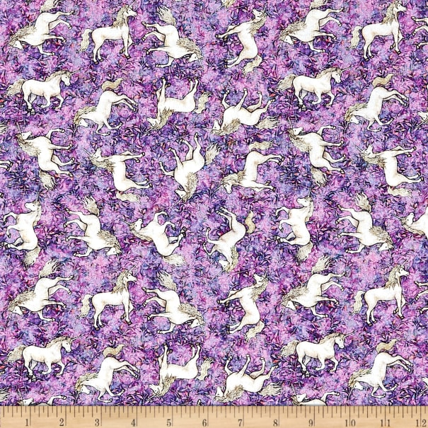 QT Fabrics  Mystical Tossed Unicorns Pink