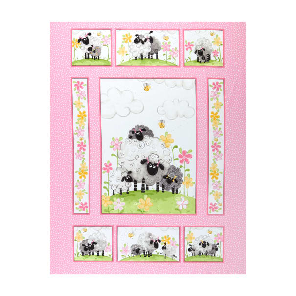 """Susybee Lal the Lamb Quilt Panel 36"""" Pink"""
