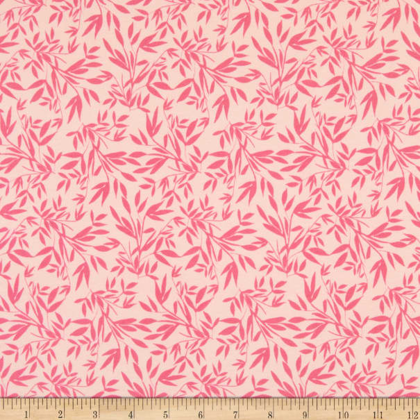 Riley Blake Stretch Jersey Knit Blooms and Bobbins Leaves Pink