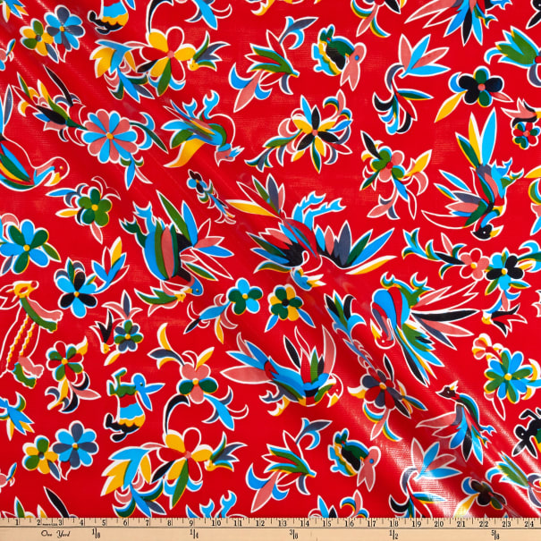 Oilcloth Aztec Inspired  Red