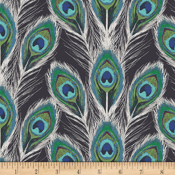 Art Gallery Decadence Paon Plumes Royal in Rayon
