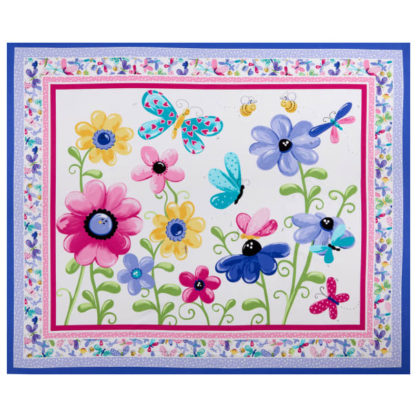 """Susybee Flutter the Butterfly floral quilt & play mat 35.5"""" panel Lilac"""