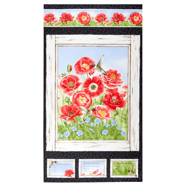 Small Packed Poppies Red by Jane Shasky from Henry Glass Fabric Poppy Meadow