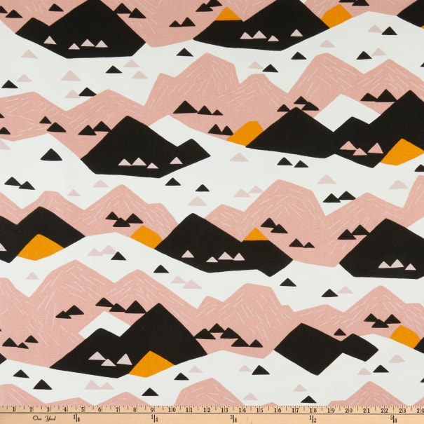 Cloud9 Organic Cotton Duck Wildlife Pink Mountain White/Pink Multi