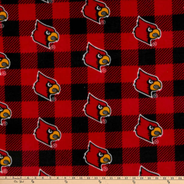 NCAA Louisville Cardinals Buffalo Plaid Fleece