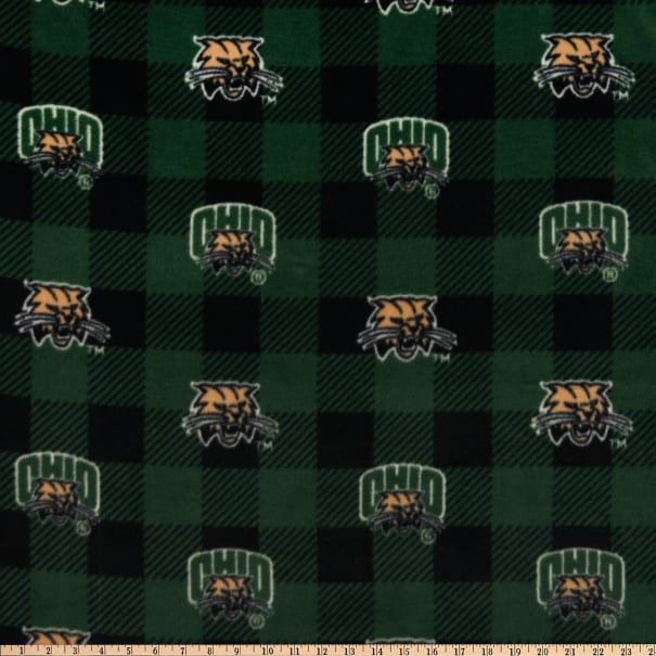 NCAA Ohio Bobcats Fleece Buffalo Plaid Green/Black/Tan