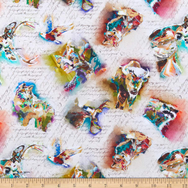 Multi Mountainside Digitally Printed Cotton Quilt Fabric 3 Wishes Great Outdoors