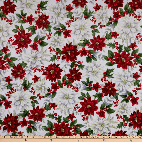 Shannon Hoffman Digital Minky Cuddle Red/White Poinsetta Natural/Gold